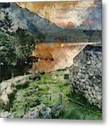 Digital Watercolor Painting Of Panorama Landscape Stunning Sunri Metal Print