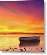 Fishing Boat At Sunset Time Metal Print