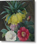 Four Peonies And A Crown Imperial  Metal Print