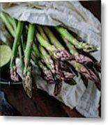 Fresh Green Asparagus Metal Print
