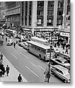 General View Of Pedestrians Crossing Metal Print
