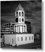 Halifax Town Clock 2017 Black  And White Metal Print