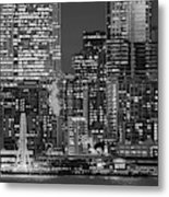 Illuminated City At Night, Seattle Metal Print