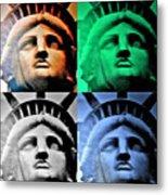 Lady Liberty In Quad Colors Metal Print
