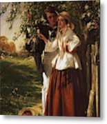 Lovers Under A Blossom Tree Metal Print