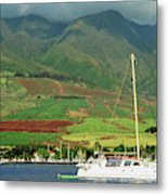 Maui Sunset Sail Metal Print