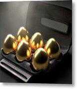 Six Golden Eggs In An Egg Carton Metal Print