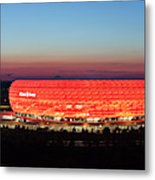 Soccer Stadium Lit Up At Dusk, Allianz Metal Print