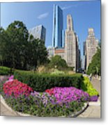 Summer Flowers In Bloom, Millennium Park, Chicago City Center, I Metal Print