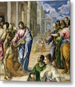 The Miracle Of Christ Healing The Blind  Metal Print