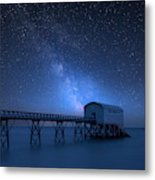 Vibrant Milky Way Composite Image Over Landscape Of Long Exposur Metal Print