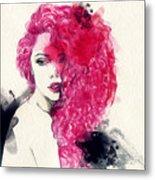 Woman . Hand Painted Fashion Metal Print