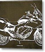 2016 Bmw K1600gt Blueprint, Original Motorcyclkes Blueprints, Bmw Artworks, Vintage Brown Background Metal Print