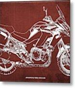 2018 Kawasaki Versys 1000 Lt Abs Blueprint Old Vintage Red Background Original Artwork Metal Print