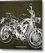 2018 Triumph Street Triple R Blueprint, Vintage Brown Background,gift For Him Metal Print