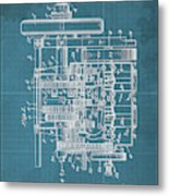 Motor Vehicle Patent Colored Vintage Art Print Year 1905 Blueprint Metal Print