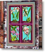 Antique Orchids Quatro On Rusted Metal And Weathered Wood Plank Metal Print