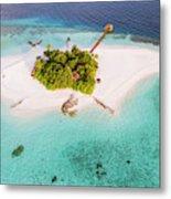 Aerial Drone View Of A Tropical Island, Maldives Metal Print