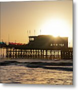 Beautiful Vibrant Sunrise Landscape Image Of Worthing Pier In We Metal Print