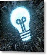 Blue Sky Light Bulb Shining In Bleak Metal Print