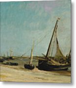 Boats On The Seacoast At Etaples  Metal Print