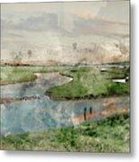 Digital Watercolor Painting Of Beautiful Dawn Landscape Over Eng Metal Print