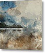 Digital Watercolor Painting Of Beautiful Summer Sunrise Landscap Metal Print
