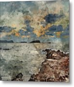 Digital Watercolor Painting Of Sunrise Over Rocky Coastline On M Metal Print
