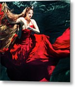 Female Dancer Performing Under Water Metal Print