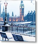 Houses Of Parliament In The Snow Metal Print