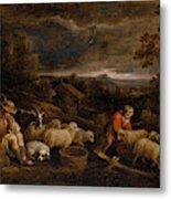 Shepherds And Sheep  Metal Print
