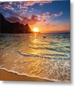 Sunset Over The Na Pali Coast Metal Print