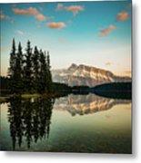 Two Jack Lake And Mount Rundle Metal Print