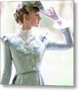 Victorian Woman In The Garden Metal Print