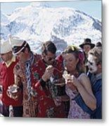 Zermatt Skiing Metal Print