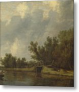 A River Landscape With Fishermen  Metal Print