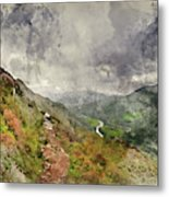 Digital Watercolor Painting Of Landscape Image Of View From Prec Metal Print