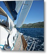 Sailing In The Wind With Sailboat Metal Print