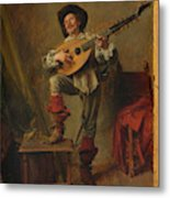 Soldier Playing The Theorbo  Metal Print