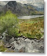 Digital Watercolor Painting Of Stunning Landscape Image Of Count Metal Print