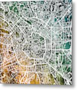 Milan Italy City Map Metal Print