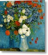 Vase With Cornflowers And Poppies Metal Print