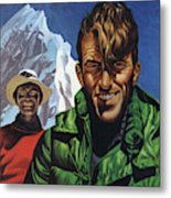 Hillary And Tensing In Front Of Mount Everest Metal Print