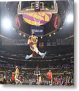 Lebron James Double-Clutch Reverse Dunk Tribute to Kobe Bryant Metal Print