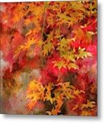 Digital Watercolor Painting Of Beautiful Colorful Vibrant Red An Metal Print