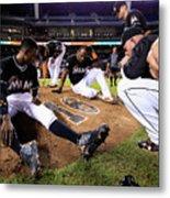 New York Mets V Miami Marlins Metal Print