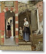 The Courtyard Of A House In Delft  Metal Print