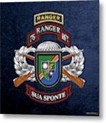 75th Ranger Regiment - Army Rangers Special Edition Over Blue Velvet Metal Print