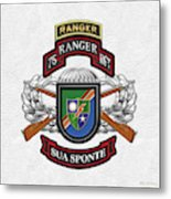 75th Ranger Regiment - Army Rangers Special Edition Over White Leather Metal Print