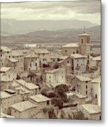 Beautiful Medieval Spanish Village In Sepia Tone Metal Print